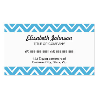 Blue whimsical zig zags zigzag chevron pattern business card