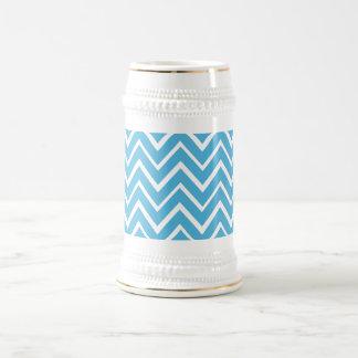 Blue whimsical zig zags zigzag chevron pattern mugs