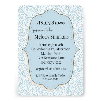 Blue White Abstract Baby Shower Personalized Announcements