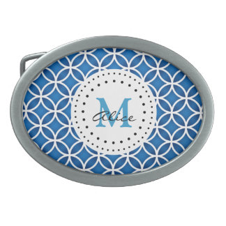 Blue White Abstract Circles Pattern Oval Belt Buckles