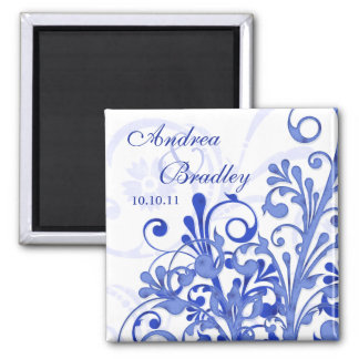 Blue & White Abstract Floral Wedding Magnet