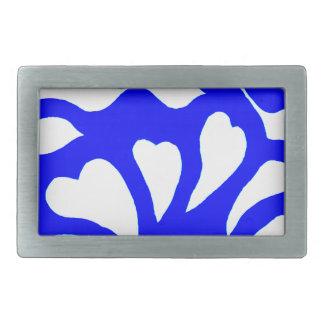 Blue & white abstract hearts swirls pattern belt buckles