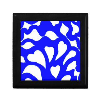 Blue & white abstract hearts swirls pattern gift box