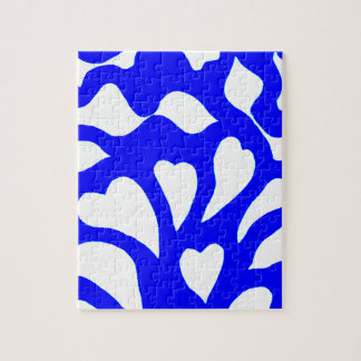 Blue & white abstract hearts swirls pattern jigsaw puzzle