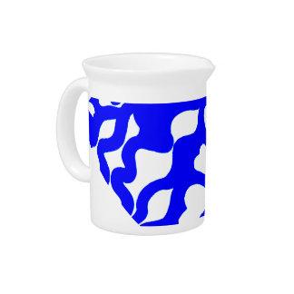 Blue & white abstract hearts swirls pattern pitcher