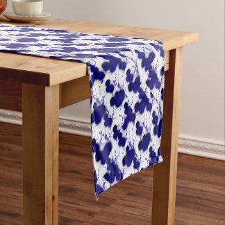 Blue White Abstract Modern Paint Splatter Trendy Short Table Runner