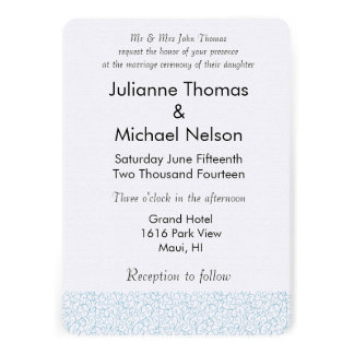 Blue White Abstract Wedding Custom Invites