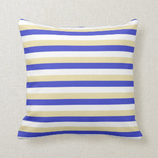 Blue, White and Beige Stripes Cushion