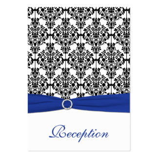 Blue, White and Black Damask Enclosure Card Business Card