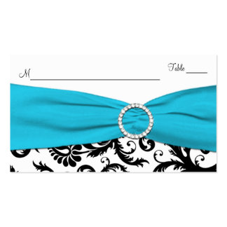 Blue, White and Black Damask Place Card Business Cards