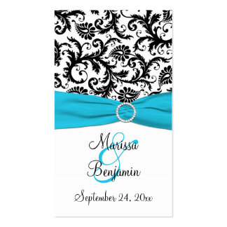 Blue, White, and Black Damask Wedding Favor Tag Business Card Templates