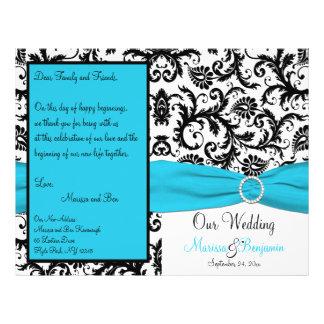 Blue, White, and Black Damask Wedding Program 21.5 Cm X 28 Cm Flyer