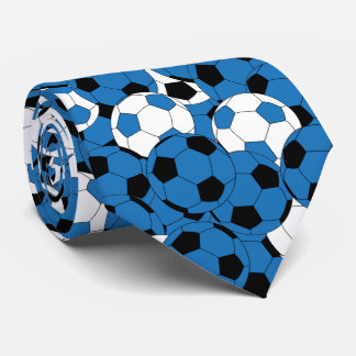 Blue, White and Black Soccer Ball Collage Tie