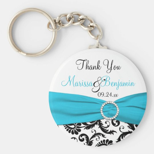 Blue, White, and Black Wedding Favour Key Chain