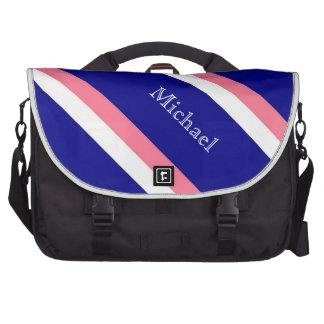 Blue,White and Coral Stripes Laptop Bag Template