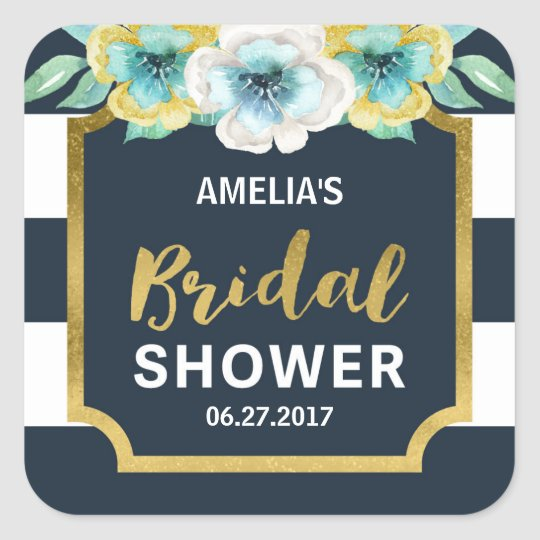 Blue White and Faux Gold Floral Bridal Shower