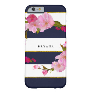 Blue White and Gold Modern Floral Chic Glam Barely There iPhone 6 Case