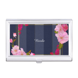 Blue White and Gold Modern Floral Chic Glamour Business Card Case