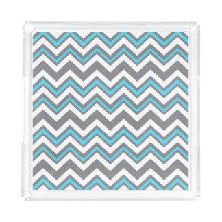 Blue, White and Gray Chevron Acrylic Tray