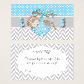 Blue, White and Gray Monkey Diaper Raffle Business Card