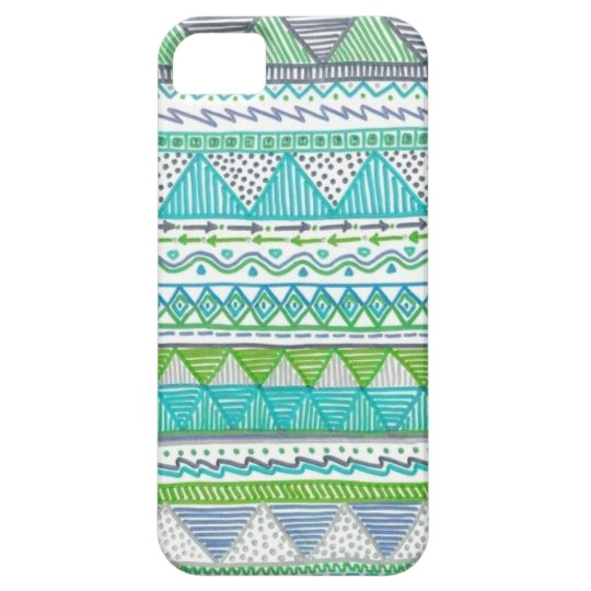 Blue, White, and Green Drawn Tribal Print Case For The iPhone 5