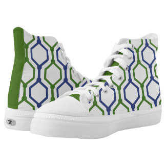 Blue, White and Green Modern Geometric Pattern Printed Shoes