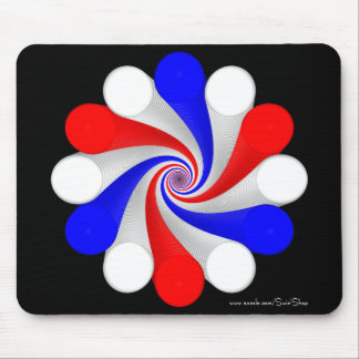 Blue, White and Red Mouse Pad