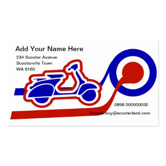Blue white and red scooter boy or girl contact pack of standard business cards