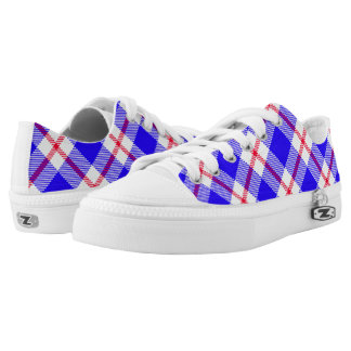 Blue, White and Red Tartan Bright Colors Low Tops