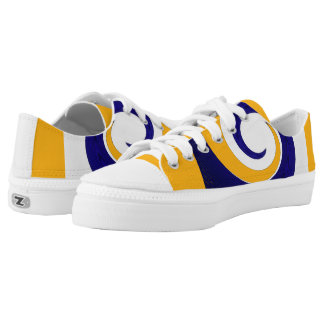 Blue white and yellow blue surf low tops