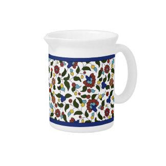 Blue & White Armenian Floral Pattern Pitcher