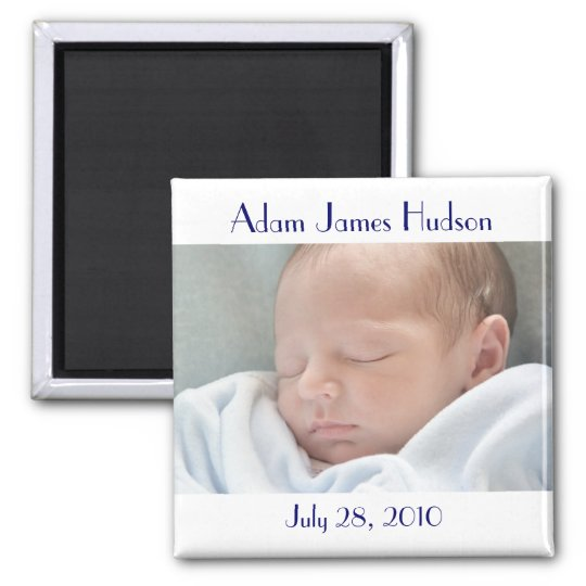 Blue & White Baby Birth Magnets