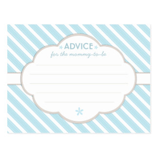 Blue | White Baby Shower Advice for Mommy to Be Postcard