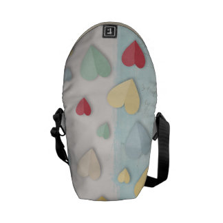 Blue white Background Folded Hearts Courier Bag