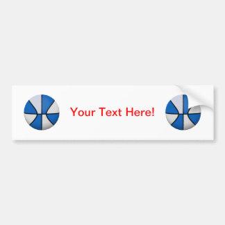 Blue & White Basketball: Car Bumper Sticker