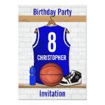 Blue White Basketball Jersey Birthday Party 13 Cm X 18 Cm Invitation Card
