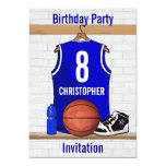 Blue White Basketball Jersey Birthday Party Personalized Announcement