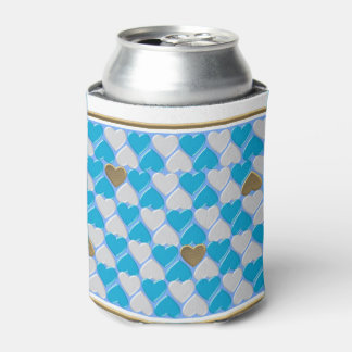 Blue, white Bavarian pattern. Can Cooler