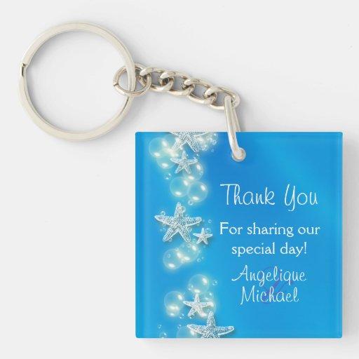 Blue white beach starfish wedding square acrylic keychains