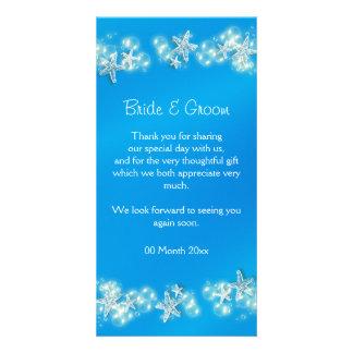 Blue white beach starfish wedding personalized photo card
