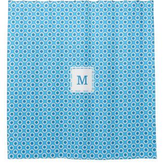 Blue & White Big Dots Custom Monogrammed Shower Curtain
