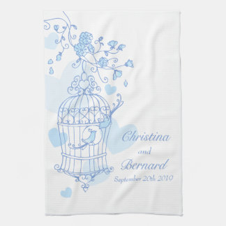 Blue white birds wedding keepsake kitchen towel
