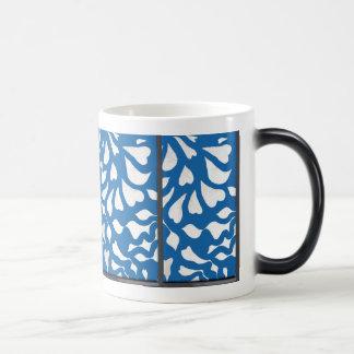 Blue, white & black abstract pattern swirls/hearts magic mug