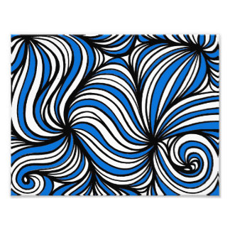 Blue White Black Abstract Photographic Print