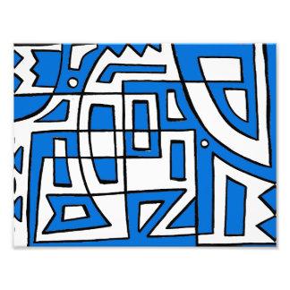 Blue White Black Abstract Photo Print
