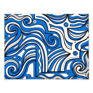 Blue White Black Abstract Photo Print
