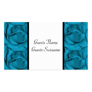 Blue white black floral wedding business card template