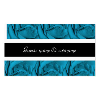 Blue white black floral wedding pack of standard business cards
