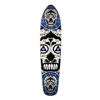 Blue White Black sugar skull damask design Skate Decks