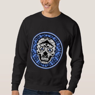 Blue White Black sugar skull damask design Sweatshirt